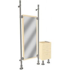 Double Pole Mirror Styling Station With Cabinet