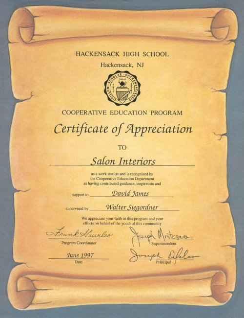 Awards letters and professional associations salon interiors inc hackensack high school appreciation certificate yelopaper Image collections